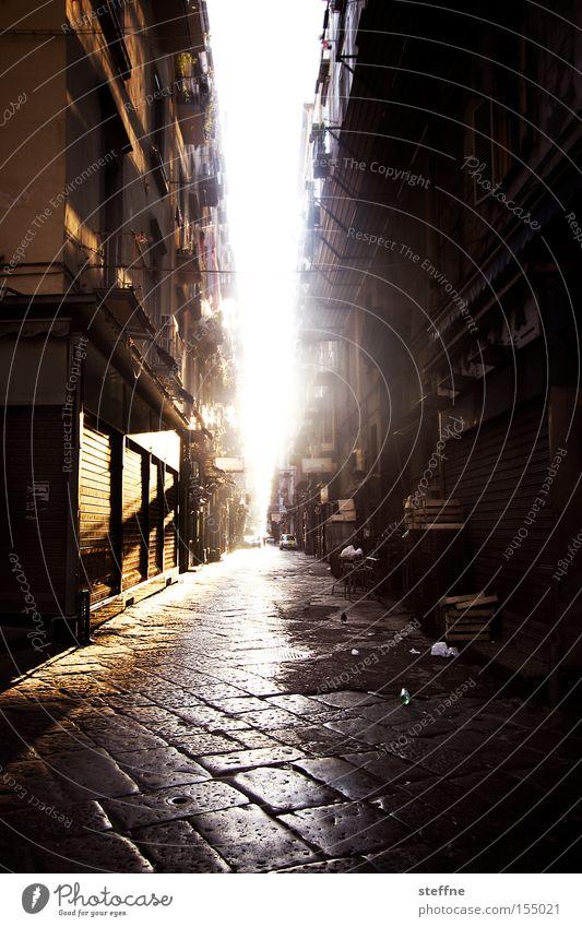 Guten Morgen! Italien Neapel Gegenlicht Sonne Sonnenaufgang Straße Einsamkeit aufwachen aufstehen Verkehrswege schön
