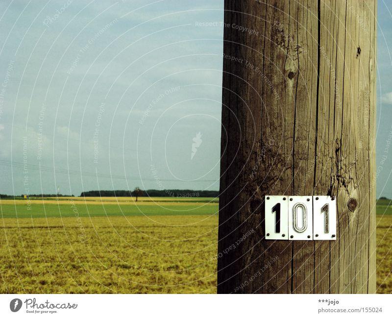 hundert, oder: voll verzählt. Strommast Telefonmast Feld Holz Landwirtschaft Ackerbau Typographie Ziffern & Zahlen Landschaft Schilder & Markierungen 100 flach