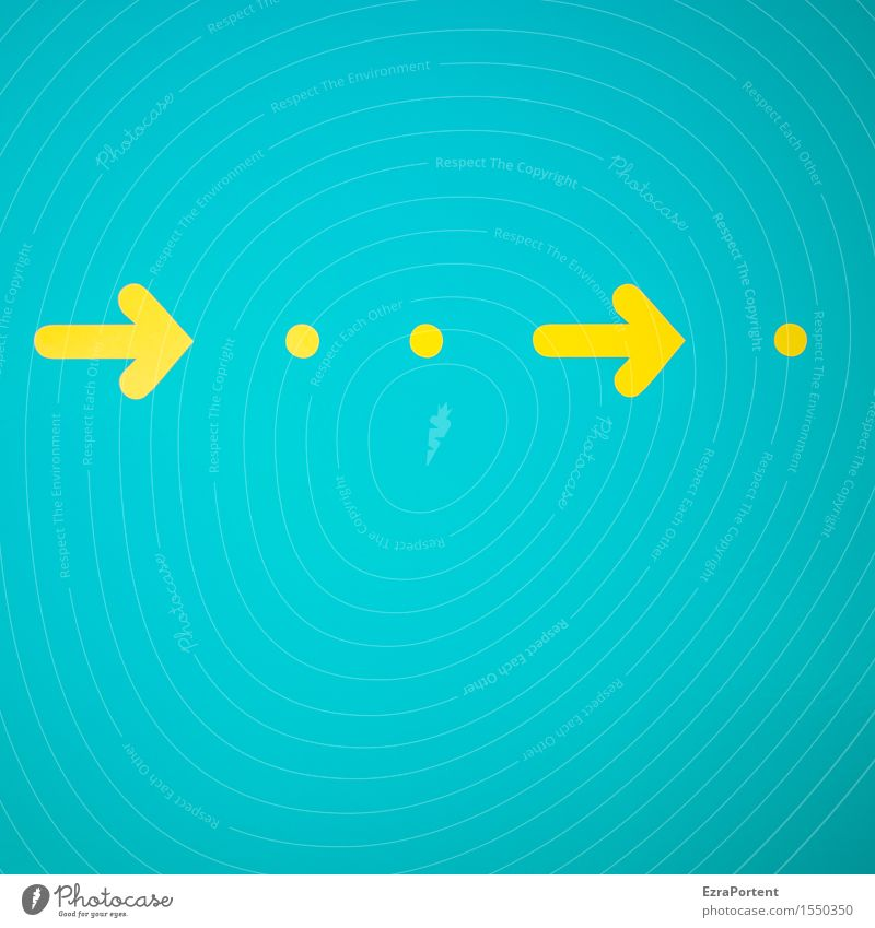 seitwärts Metall Zeichen Pfeil hell blau gelb türkis Design Farbe Wandel & Veränderung Werbung Punkt Richtung richtungweisend Richtungswechsel rechts Farbfoto