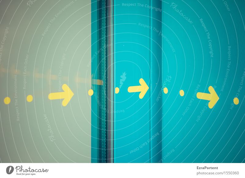 umme Ecke Glas Metall Zeichen Schilder & Markierungen Hinweisschild Warnschild Linie Pfeil hell blau gelb türkis Design Farbe Punkt Richtung richtungweisend