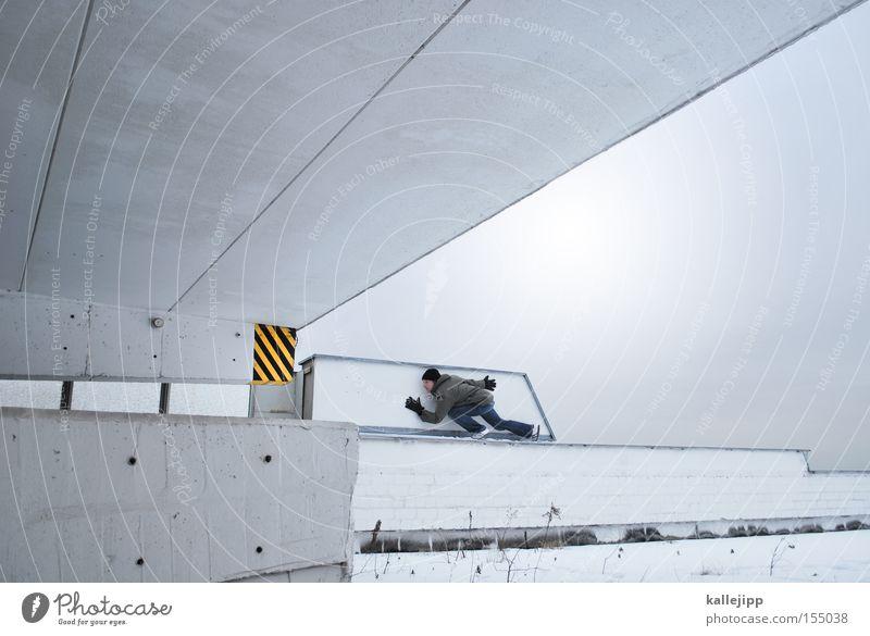 tigerenten-club-mitglied Mensch Mann weiß gelb Schnee Architektur Suche Streifen Dach Jagd Warnhinweis Respekt Dieb Parkhaus Warnung Parkdeck
