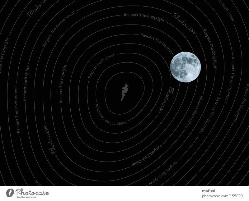 Blue Moon Mond Vollmond Nacht Himmel schwarz weiß blau Mondsüchtig schlafen Himmelskörper & Weltall Mann im Mond schlaflos