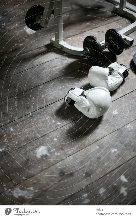 Fitnessbude Lifestyle Freizeit & Hobby Häusliches Leben Sport Sport-Training Boxsport Hantel Gerät Fitness-Center Sportstätten Menschenleer Holzfußboden liegen