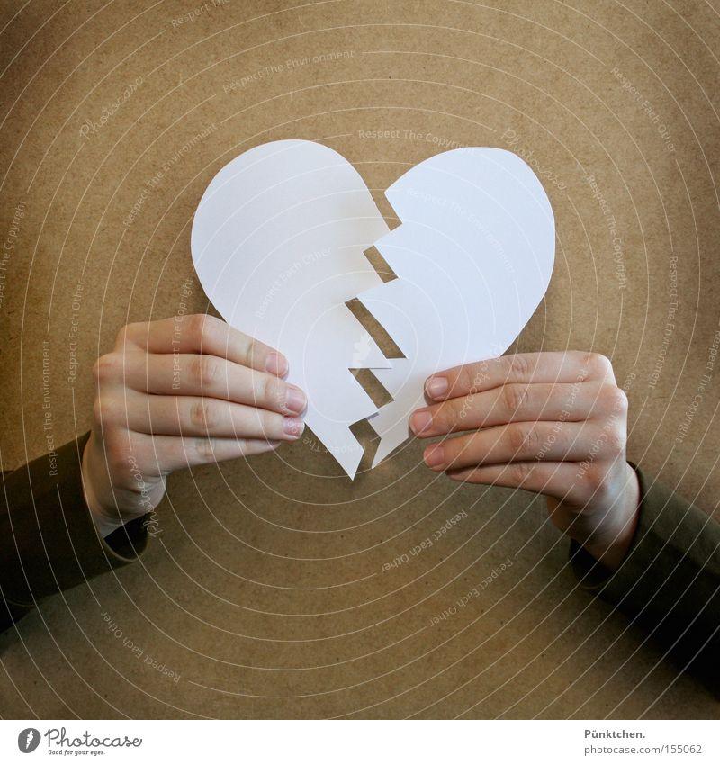 Aus die Maus! Trauer Liebe Herz Trennung Scheidung Hand Teilung Zacken weiß Ende Abschied Verzweiflung