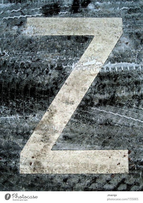 Z Winter Straße kalt Schnee Wege & Pfade dreckig Schriftzeichen Asphalt Buchstaben Spuren gefroren Typographie Lateinisches Alphabet