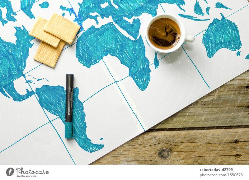 Karte der Welt von Hand auf Papier gezeichnet Kaffee Ferien & Urlaub & Reisen Meer Wissenschaften Business Kunst Erde Schreibstift Holz Globus modern oben retro