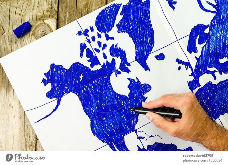 Karte der Welt von Hand auf Papier gezeichnet Ferien & Urlaub & Reisen alt weiß Holz Business Erde Aussicht retro Idee zeigen Etage Schreibstift Globus Top