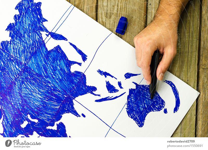 Karte der Welt von Hand auf Papier gezeichnet Ferien & Urlaub & Reisen Business Bildschirm Erde Schreibstift Holz Globus alt retro weiß Idee Lehre ringsherum