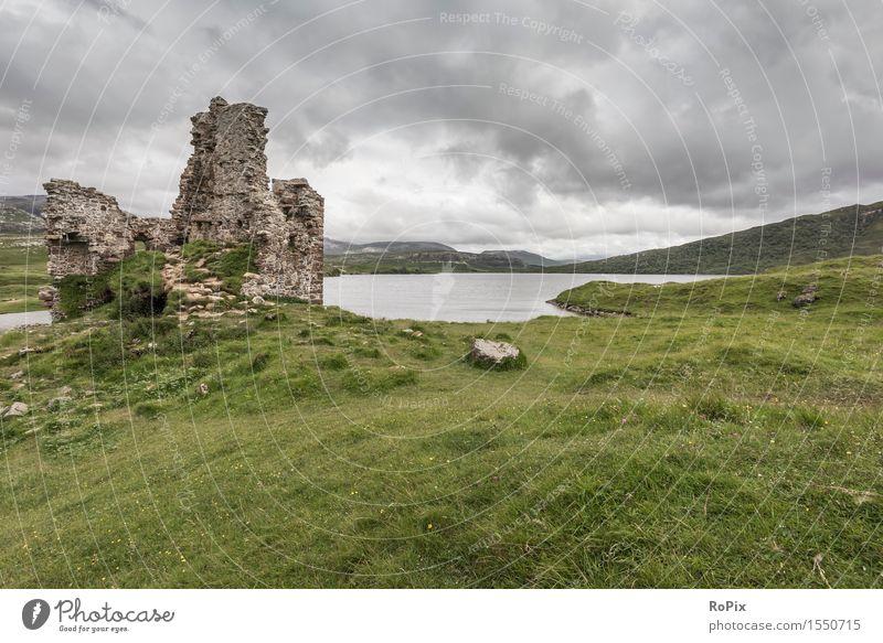 Ardvreck Castle Erholung ruhig Ferien & Urlaub & Reisen Tourismus Sightseeing Sommer wandern Landschaft Urelemente Wasser Himmel Wolken Gewitterwolken