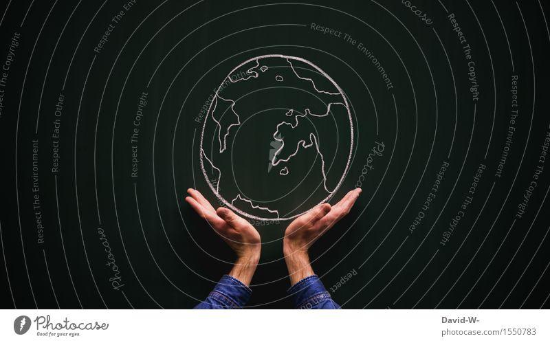 Die Welt Mensch Natur Jugendliche Mann Hand Junger Mann Erwachsene Umwelt Leben Kunst Erde maskulin Zukunft Klima Kultur