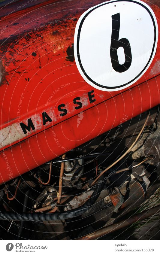 MASSE 6 Traktor Landwirtschaft Maschine Kraft Motor Benzin Diesel rot Blech Stahl Grill Industrie Ziffern & Zahlen Erdöl