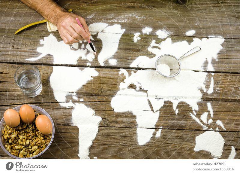 Zeichnen von Karten der Welt mit Mehl Brot Freizeit & Hobby Ferien & Urlaub & Reisen Dekoration & Verzierung Koch Handwerk Business Kunst Urelemente Erde Liebe