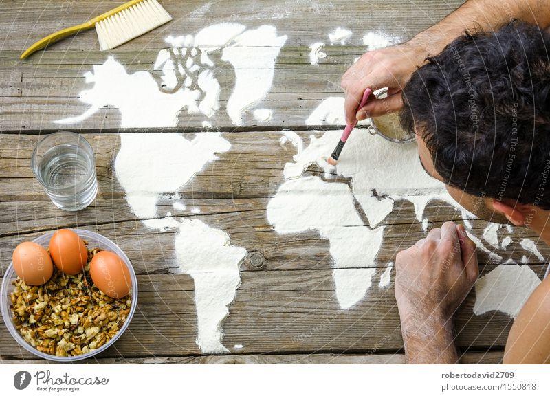 Zeichnen von Karten der Welt mit Mehl Ferien & Urlaub & Reisen weiß Hand Liebe Kunst Business oben Erde Freizeit & Hobby Dekoration & Verzierung Kreativität