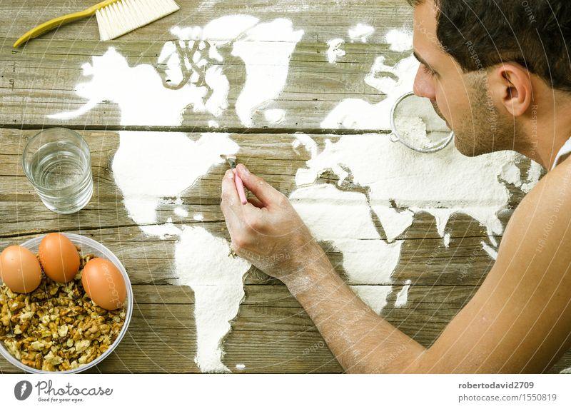 Zeichnen von Karten der Welt mit Mehl Teigwaren Backwaren Brot Freizeit & Hobby Ferien & Urlaub & Reisen Dekoration & Verzierung Koch Handwerk Business Kunst
