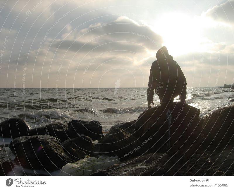 Abendgelb Himmel Meer Ferien & Urlaub & Reisen ruhig Ferne Erholung Stein Küste Felsen Frieden Netz Sehnsucht Sonnenbad Seeufer Ostsee Dänemark