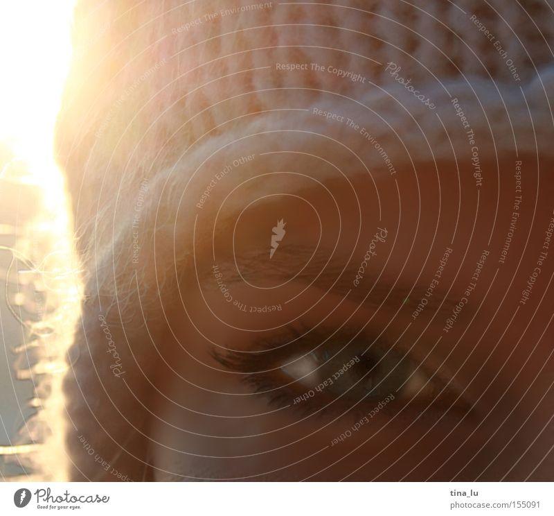 Winterspaziergang I Frau Natur schön Sonne Auge kalt Beleuchtung Mütze Mensch Jena