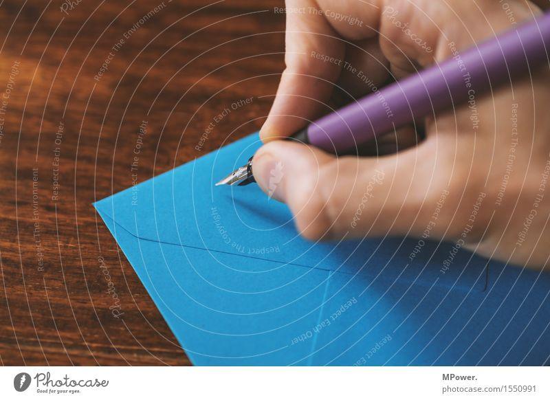 brief 8 Holz dünn Brief schreiben Hand Handschrift Absender Post Postkarte Tisch Liebesbrief blau Füllfederhalter Schreibstift Kommunizieren E-Mail