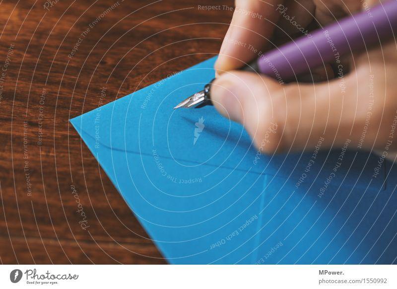 brief 3 Holz dünn Brief schreiben Hand Handschrift Absender Post Postkarte Tisch Liebesbrief blau Füllfederhalter Schreibstift Kommunizieren E-Mail