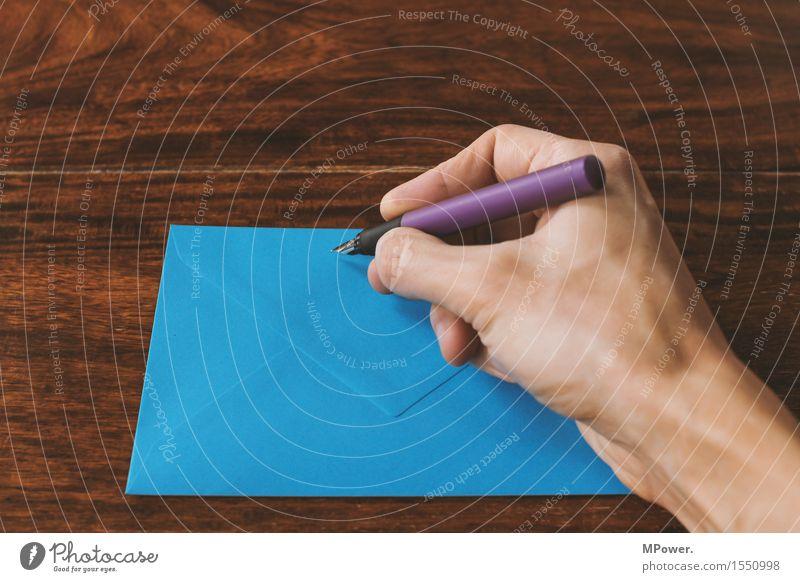 brief 1 Holz dünn Brief schreiben Hand Handschrift Absender Post Postkarte Tisch Liebesbrief blau Füllfederhalter Schreibstift Kommunizieren E-Mail