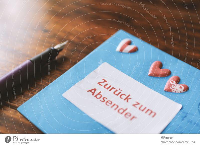 brief 5 Holz Herz Schreibstift zurück Valentinstag Liebe Verliebtheit dünn Brief schreiben Absender Post Postkarte Tisch Liebesbrief blau Füllfederhalter