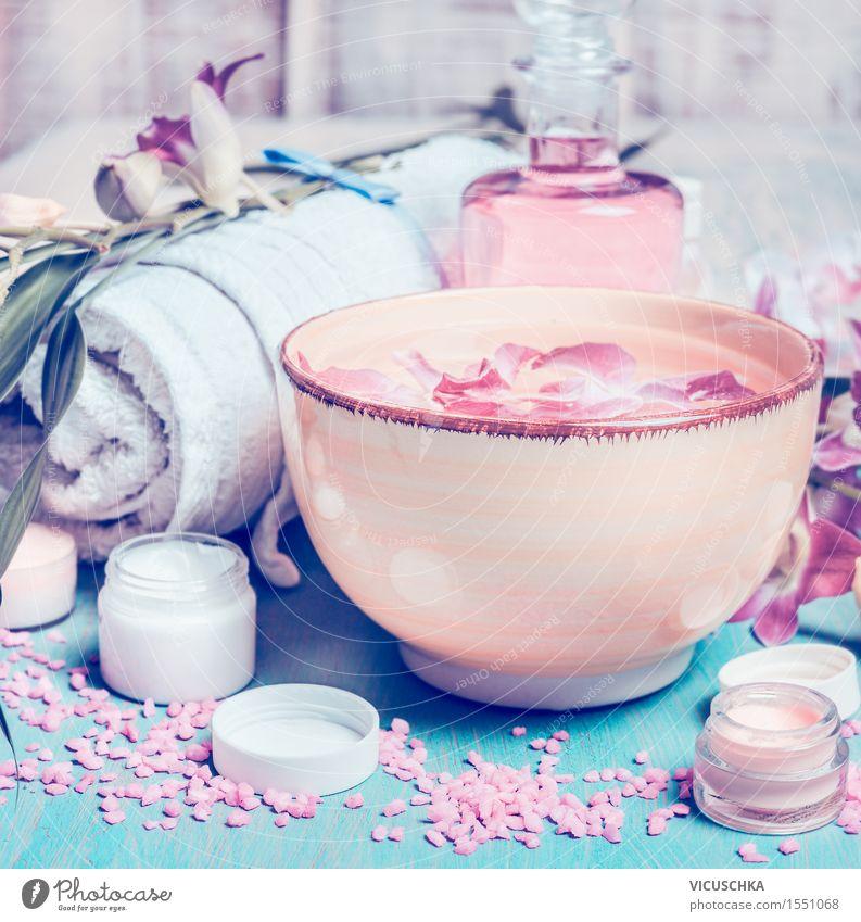 Wellness Kosmetik Tisch Natur Blume Erholung Blatt ruhig Blüte Stil rosa Design Bad Wohlgefühl harmonisch Duft Meditation
