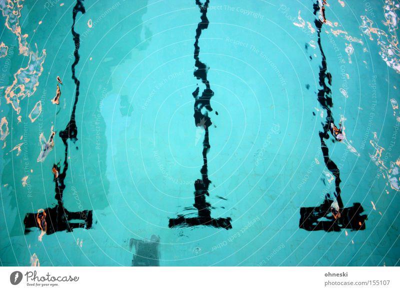 Verschwommen Schwimmbad Wasser Freibad 3 Bahn Schwimmsport springen Freude blau Linie Wassersport Sport Spielen Schwimmen & Baden