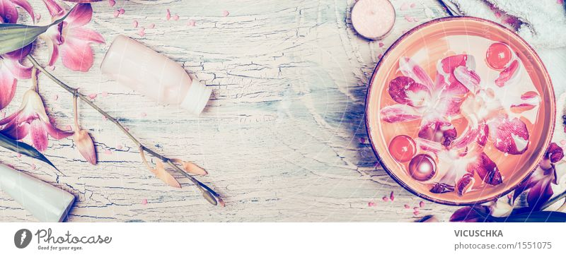 Spa-Hintergrund mit Orchideen und Wellness Zubehör Natur schön Blume Erholung Stil Gesundheit rosa Design Zufriedenheit Wellness Wohlgefühl Fahne Körperpflege Duft Meditation Kosmetik