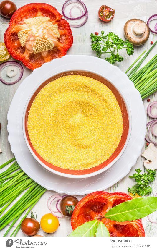 Polenta Teller und verschiedenes Gemüse Gesunde Ernährung gelb Leben Stil Lebensmittel Design Tisch Kochen & Garen & Backen Kräuter & Gewürze Küche Getreide