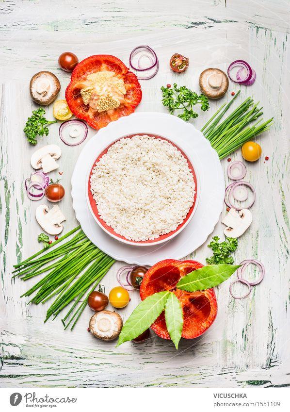 Risotto Reis mit Gemüse und Zutaten Lebensmittel Salat Salatbeilage Getreide Kräuter & Gewürze Ernährung Mittagessen Abendessen Büffet Brunch Festessen