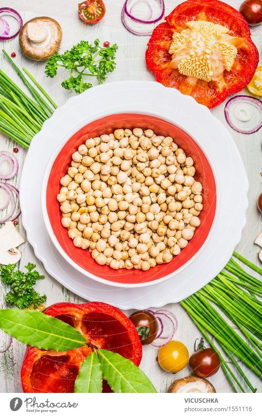 Kichererbsen mit Gemüse und Gewürzen Gesunde Ernährung Leben Stil Lebensmittel Party Design Kochen & Garen & Backen Kräuter & Gewürze Küche lecker Bioprodukte