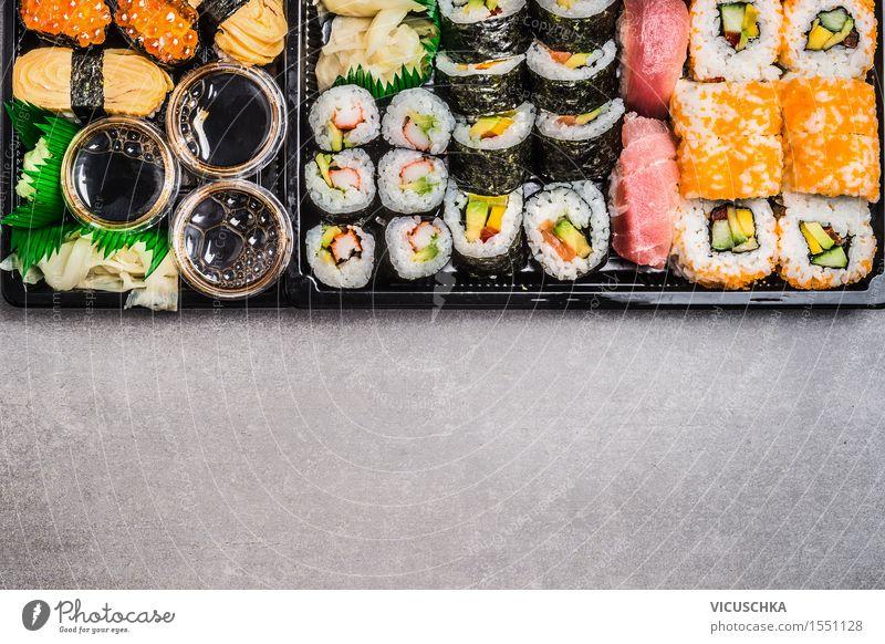Sushi Menu. Gesunde Ernährung Foodfotografie Stil Lebensmittel Party Design Tisch Fisch Restaurant Abendessen Japan Mittagessen Reis horizontal Büffet