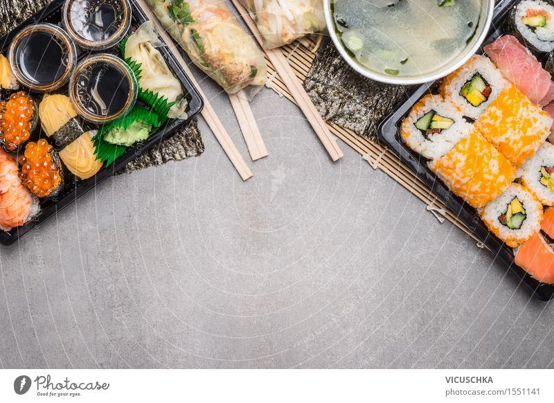 Sushi Menü mit Sommerrollen und Miso-Suppe Speise Stil Hintergrundbild Lebensmittel Design Ernährung Tisch Fisch Bioprodukte Getreide Restaurant Schalen & Schüsseln Vegetarische Ernährung Mittagessen Festessen Büffet