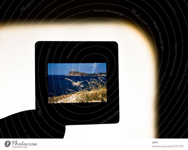 Dia am Strand Schatten Dia-Projektor Meer Ferien & Urlaub & Reisen Sand Wellen frei Erholung Fernweh Erinnerung Wind Licht Küste Fotografie Freude Stranddüne