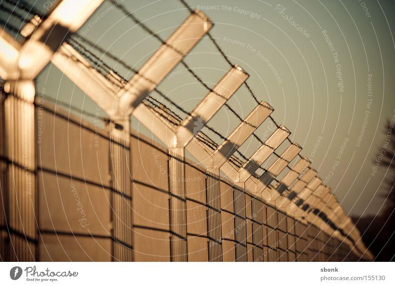 Safety first Pferch Zaun gesperrt Bronze Metall Barriere Sicherheit geschlossen Defensive Stacheldraht No Entry Kein Zutritt
