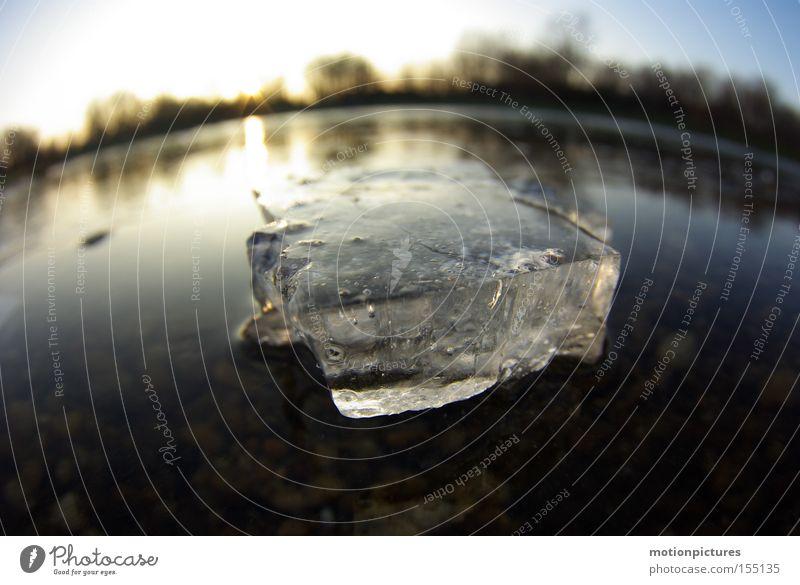 anderthalb Erkenntnisse Wasser gefroren frieren Eis Eisfläche Eisscholle Fischauge Aggregatzustand Winter Gegenlicht Sonnenuntergang Makroaufnahme