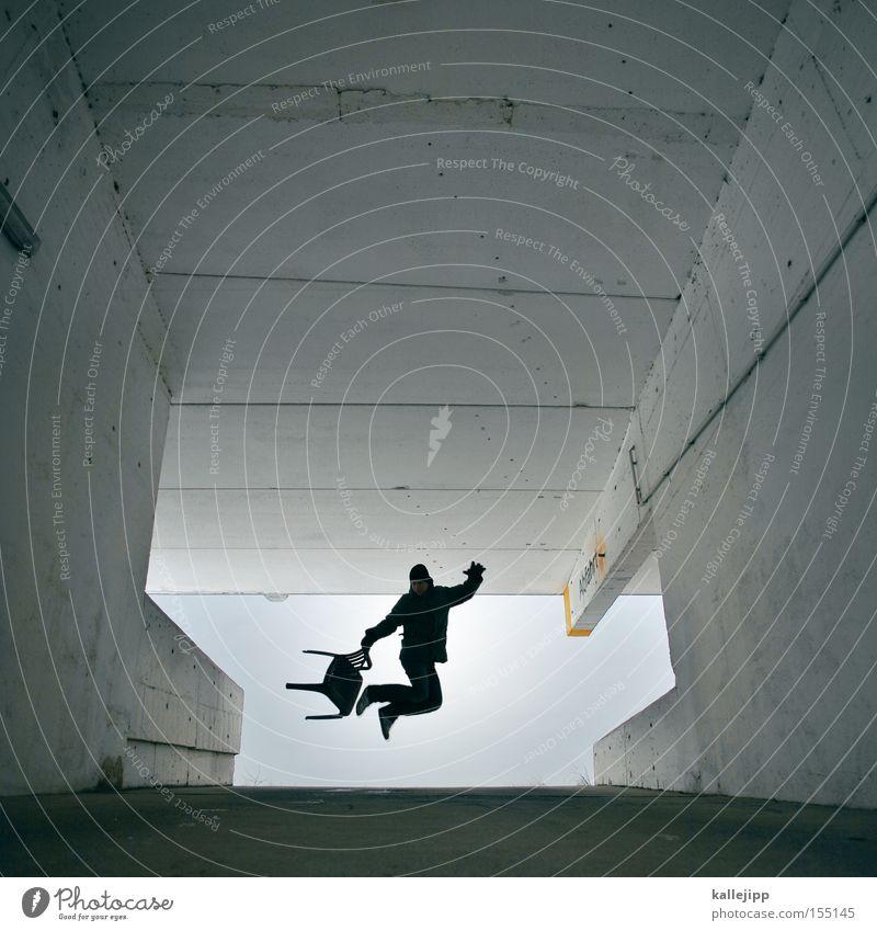 flipchair Mensch Mann Architektur fliegen springen Luftverkehr Beton Stuhl hüpfen Parkhaus Freestyle Ausfahrt Einfahrt Autobahnauffahrt