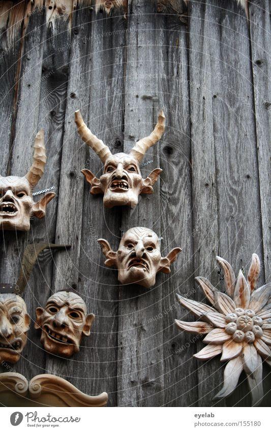 Schatzerl bring mea oa edelwois ! Blume Gesicht Bayern Wand Holz Kunst Maske obskur Geister u. Gespenster Tradition Horn Monster Allgäu Kunsthandwerk