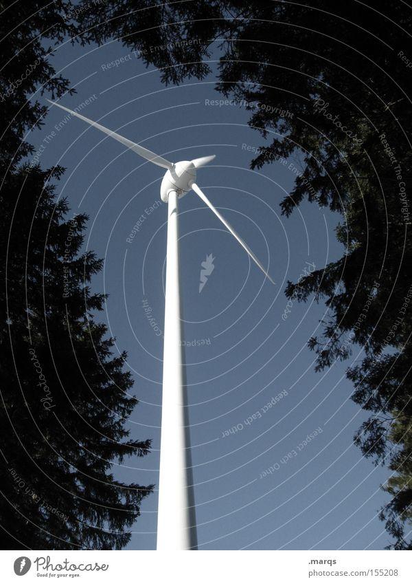 Kollektor Farbfoto Gedeckte Farben Außenaufnahme Industrie Energiewirtschaft Windkraftanlage Umwelt Natur Himmel Sträucher Wald gigantisch hoch blau