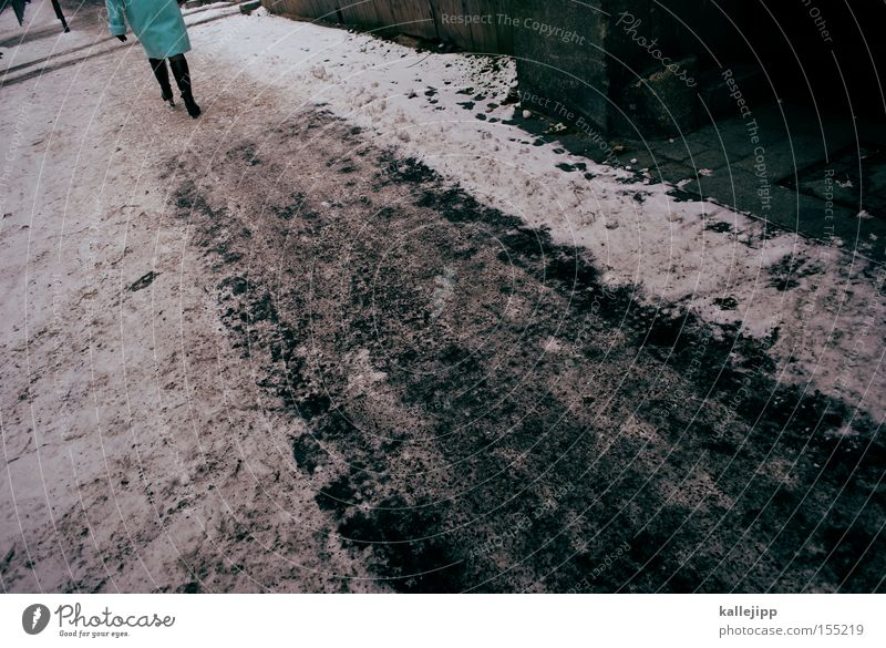 der adac empfiehlt schneeketten Wege & Pfade Schnee Eis Winter Rutschgefahr Streusalz Eisschicht kalt Eisfläche Schneegans gefährlich Risiko Frau Fußgänger