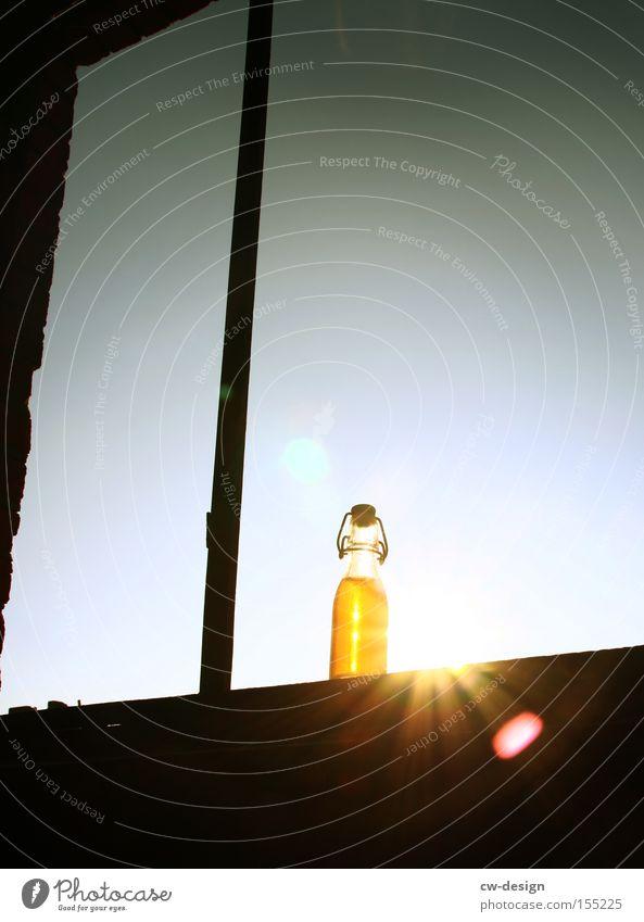 SONNENGEREIFT. pt.I Sonne Sommer Ernährung Fenster Getränk Küche Gastronomie Bier Flasche durchsichtig Schönes Wetter Erfrischung Limonade Trinkgefäß