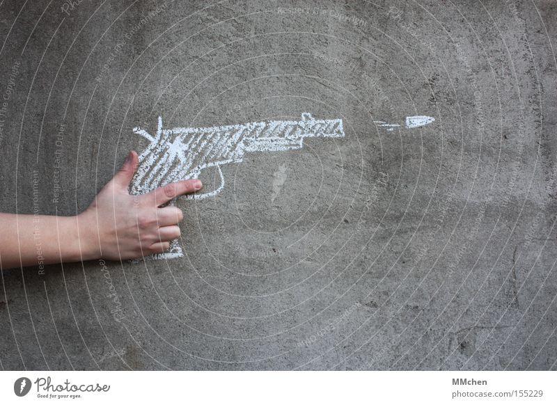 I Shot the Sheriff Pistole Waffe Spielzeugwaffen Kreide Cowboy Karneval Munition Gewalt Aggression Täter Schuss Projektil Patrone Graffiti Wandmalereien