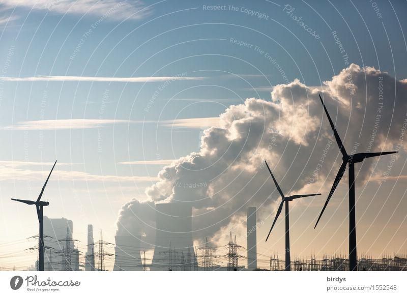 Windräder vor einem Braunkohlekraftwerk Energiewirtschaft Erneuerbare Energie co2 Windkraftanlage Kohlekraftwerk Himmel Wolken Klimawandel bedrohlich