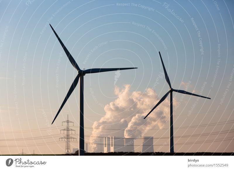 Braunkohlekraftwerk Neurath mit Alternativen Technik & Technologie Energiewirtschaft Erneuerbare Energie Windkraftanlage Kohlekraftwerk Wolkenloser Himmel