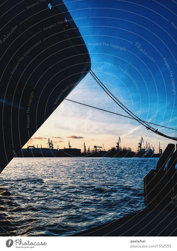 Hamburg Landungsbrücken Panorama am Ponton im Sonnenuntergang Ferien & Urlaub & Reisen Tourismus Ferne Sightseeing Städtereise Sommer Meer Wellen Flussufer
