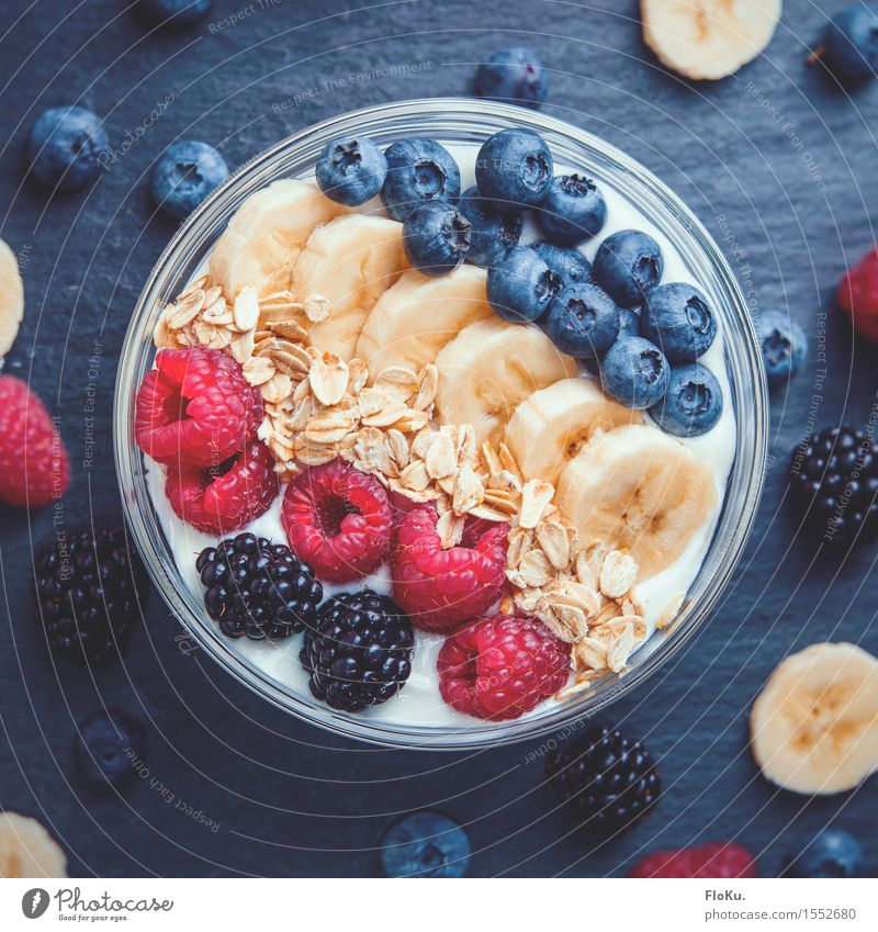 I <3 Frühstück Lebensmittel Joghurt Milcherzeugnisse Frucht Getreide Ernährung Bioprodukte Vegetarische Ernährung Fitness Sport-Training Glas frisch Gesundheit