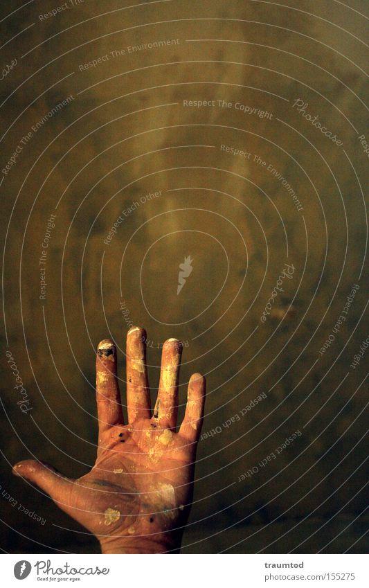 5. Hand Daumen Finger gestikulieren dreckig Farbe Wand Tiefenschärfe Backstein Mittelfinger klein Ringfinger Zeigefinger Freude Makroaufnahme Nahaufnahme thumbs