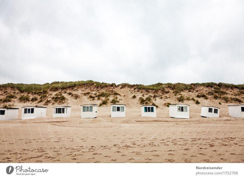 Badehäuschen Ferien & Urlaub & Reisen Tourismus Sommerurlaub Strand Meer Natur Landschaft Sand Himmel Wolken Frühling schlechtes Wetter Regen Nordsee Hütte