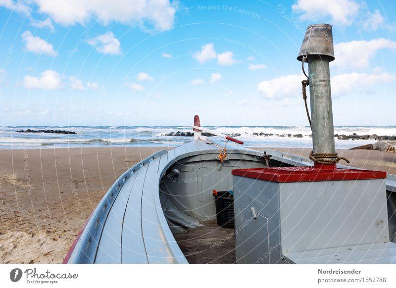 Kutter Himmel Ferien & Urlaub & Reisen Sommer Meer Landschaft Wolken Strand Küste Wasserfahrzeug Arbeit & Erwerbstätigkeit Tourismus Wellen Wind