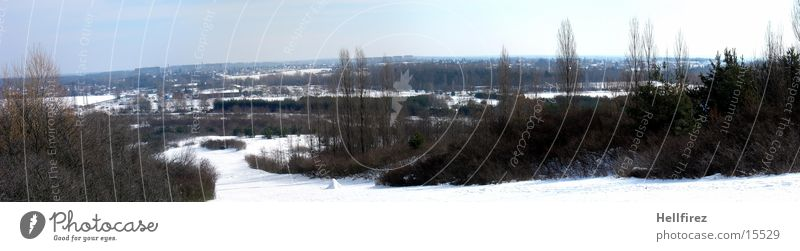 Überblick Sonne Winter Schnee Landschaft Lausitz