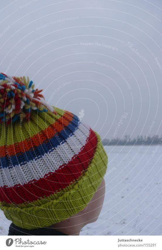 Bommelchen Kind Winter kalt Schnee Junge Eis Zufriedenheit Streifen Mütze gestreift Quaste Wollmütze